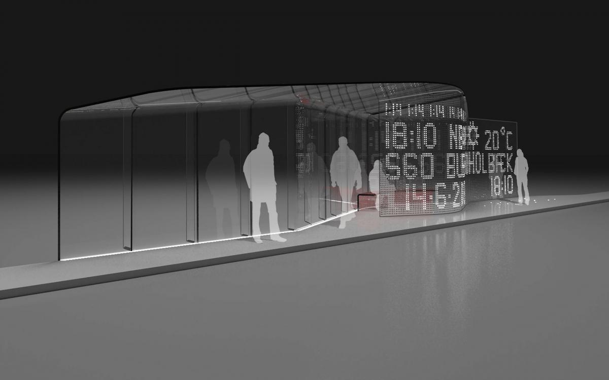 Interactive All-Glass Bus shelter